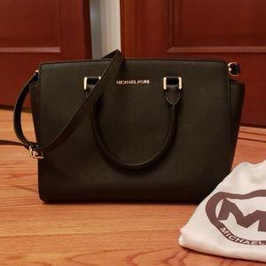 Michael Kors leather satchel silhouette
